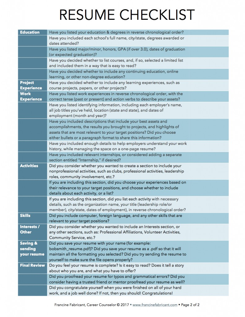Resume Writing Checklist page 2